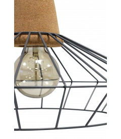 Lampe Suspendue Ingvar Gris Mat Liege & Metal, Cable Tex Carreau Gaine Noir &