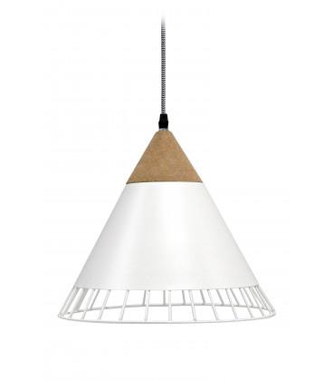 Lampe Suspendue Wallace Blanc Mat Liege & Metal, Cable Tex Carreau Gaine Noir E
