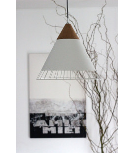 Lampe Suspendue Wallace Blanc Mat Liege & Metal, Cable Tex Carreau Gaine Noir E