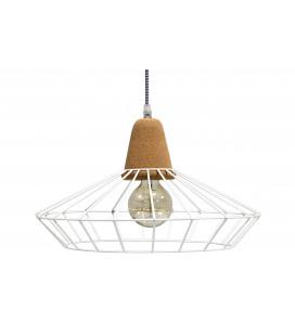 Lampe Suspendue Ingvar Blanc Mat Liege & Metal, Cable Tex Carreau Gaine Noir Et
