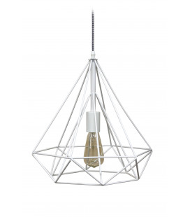 Lampe Suspendue Prism Blanc Mat Metal & Cable Tex Carreau Gaine Noir & Blanc
