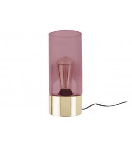 Lampe Lax verre rose, base doré
