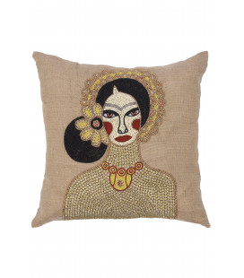 Coussin Brodé Frida Naturel Lazare Home