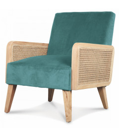 Fauteuil Cannage Vert Thym