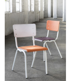 Chaise Serax Vincent Orange Blanc Cadre Blanc