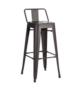 Tabourets X4 Bar + Dossier Gris Anthracite Dallas