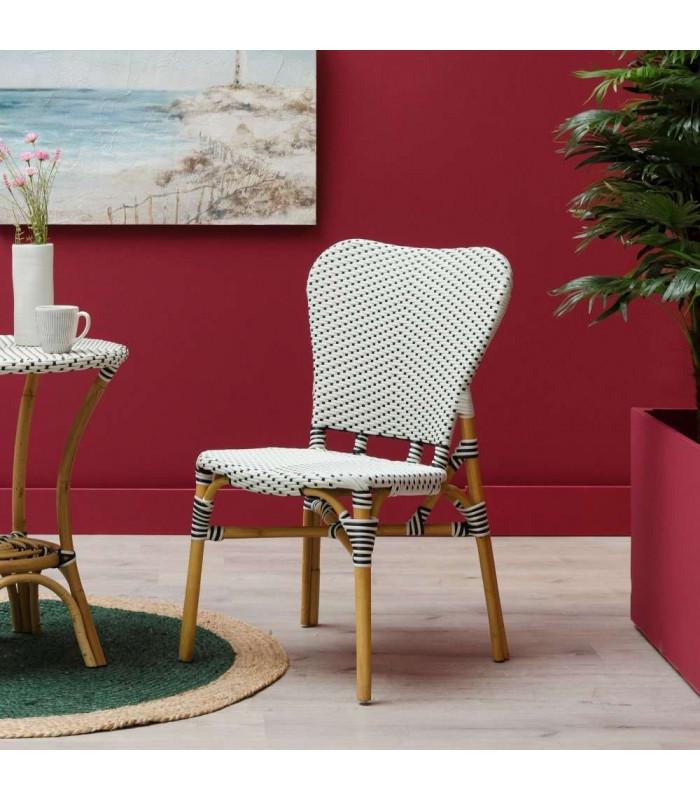 chaise bistrot rive gauche rotin noir et blanc h gen. Black Bedroom Furniture Sets. Home Design Ideas