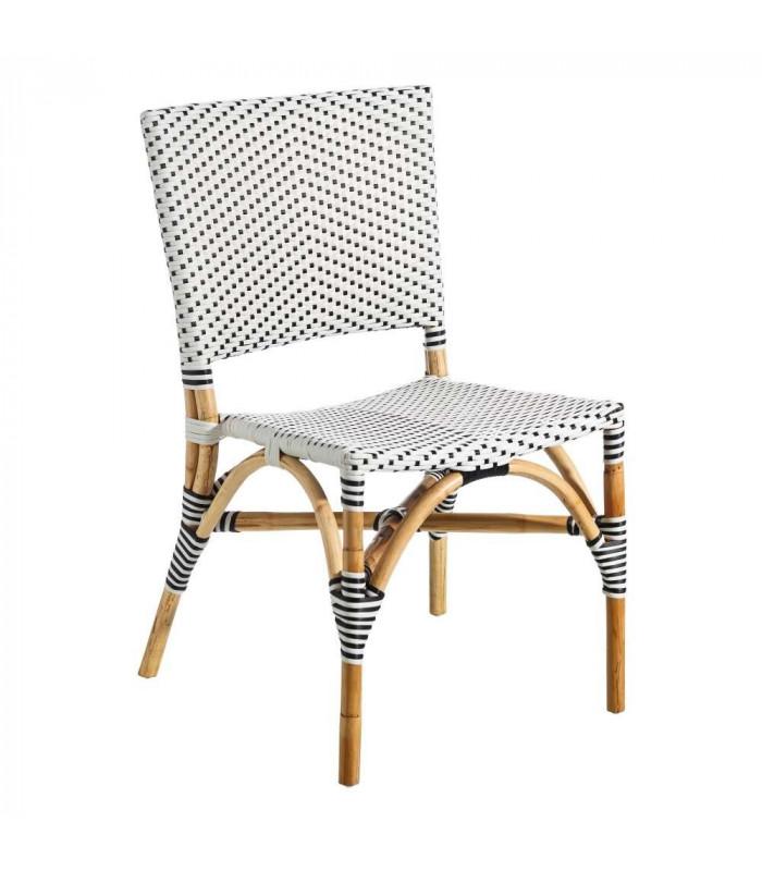 chaise bistrot rive droite rotin noir et blanc h gen. Black Bedroom Furniture Sets. Home Design Ideas