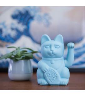 "Chat Porte-Bonheur Maneki-Neko Bleu ""INTELLIGENCE ET SUCCÈS PROFESSIONNEL"""