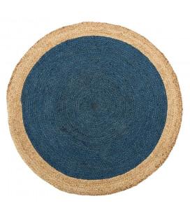 Tapis Jute Rond Bleu Ø120cm