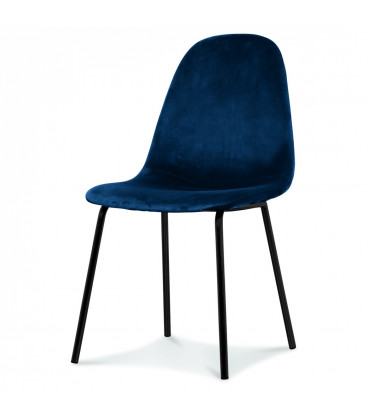 Chaise Jakob Velours Bleu