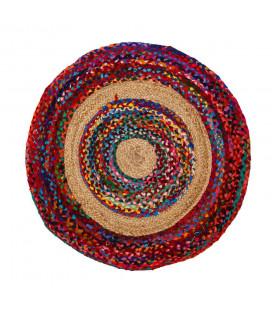 Tapis Jute Rond Multicolore Ø90cm