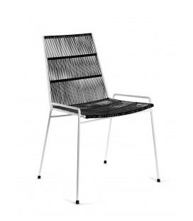 Chaise Serax Abaco Noir sur Cadre Blanc - Outdoor