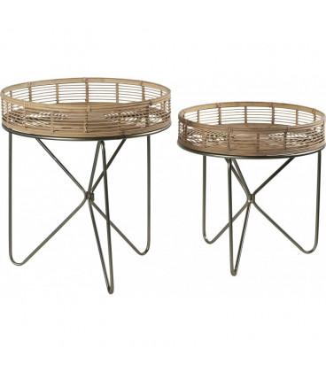 Set de 2 Tables Plateau Bambou