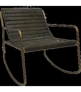 Rocking Chair Lounge Cuir Vert