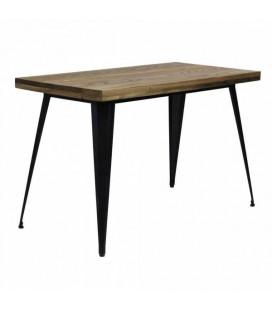 Table Tuck Rectangulaire Acier Noir Mat & Bois