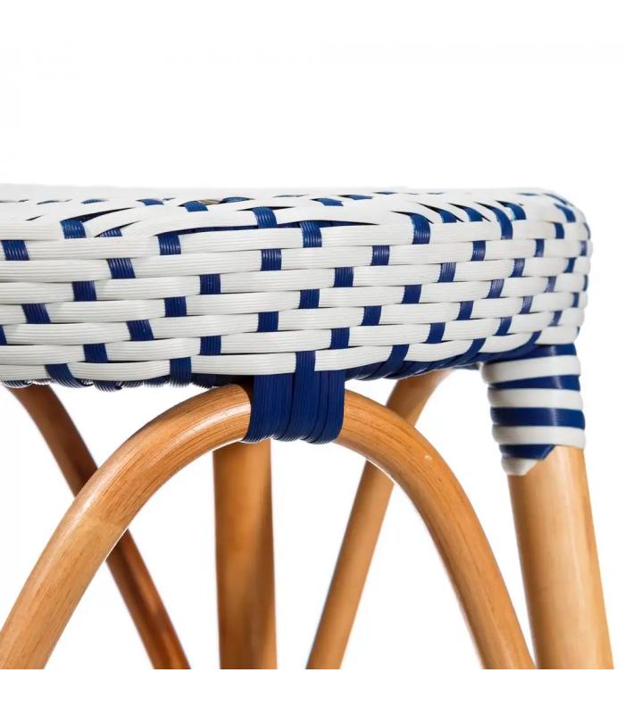 tabouret bistrot plan de travail rotin bleu et blanc h gen. Black Bedroom Furniture Sets. Home Design Ideas