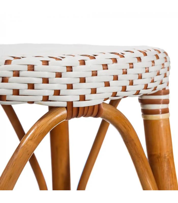 tabouret bistrot plan de travail rotin brun et blanc h gen. Black Bedroom Furniture Sets. Home Design Ideas