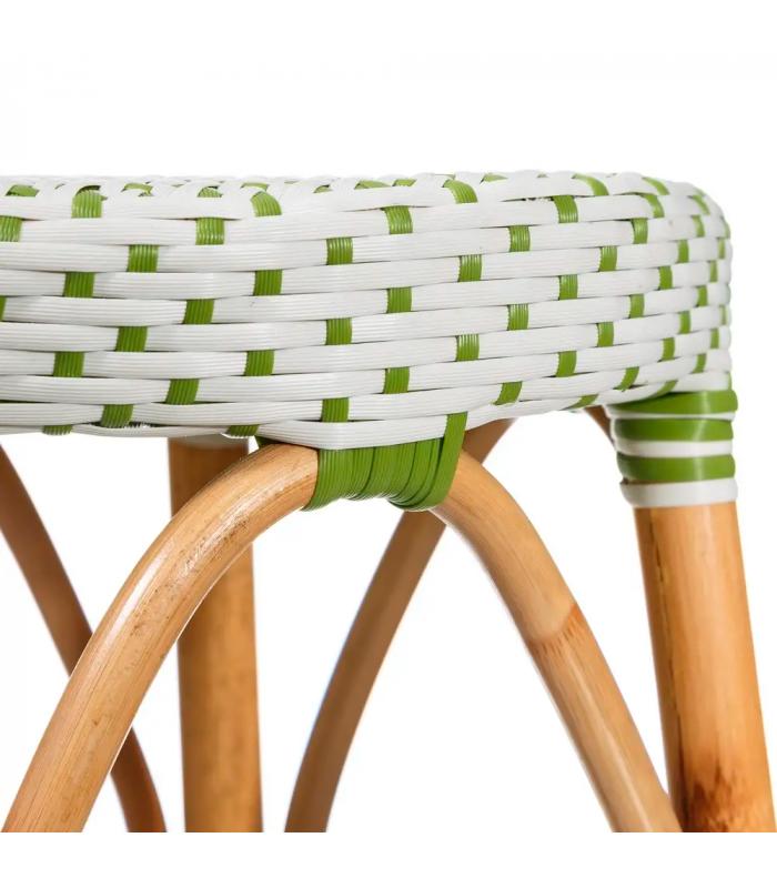 tabouret bistrot plan de travail rotin vert et blanc h gen. Black Bedroom Furniture Sets. Home Design Ideas