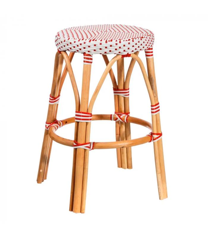 tabouret bistrot plan de travail rotin rouge et blanc h gen. Black Bedroom Furniture Sets. Home Design Ideas