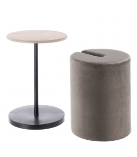 Table Pouf 2 en 1 Calie Taupe