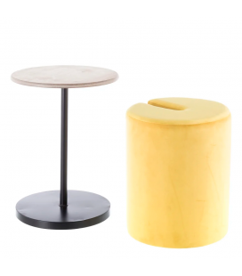 Table Pouf 2 en 1 Calie Jaune