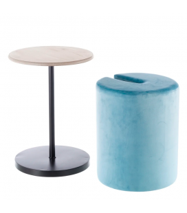 Table Pouf 2 en 1 Calie Bleu