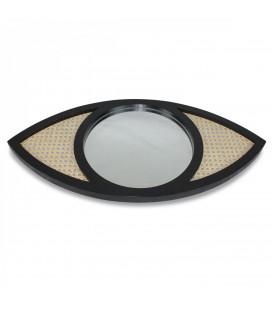 Miroir Oeil Noir Cannage 70x34cm