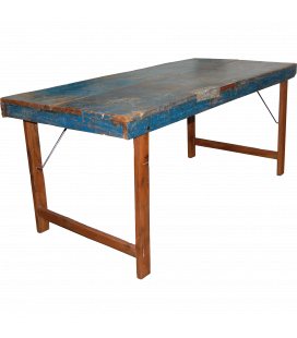 Table A Manger Vieux Bois Bleu 155cm