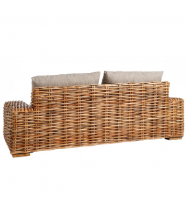 Canapé Suno Dark Rotin - Outdoor 215cm - Tissu couleur Taupe
