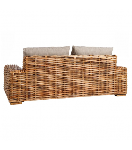 Canapé Suno Dark Rotin - Outdoor 185cm - Tissu Couleur Taupe