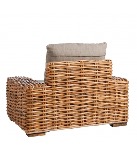 Fauteuil Suno Dark Rotin - Outdoor - Tissu couleur Taupe