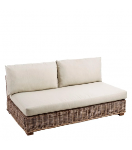 Banquette Suna Rotin Modulable - Outdoor 160cm - Tissu couleur Naturelle