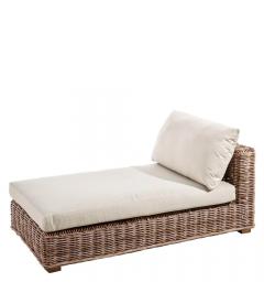 Lit Suna Rotin Modulable - Outdoor 160cm - Tissu couleur Naturelle