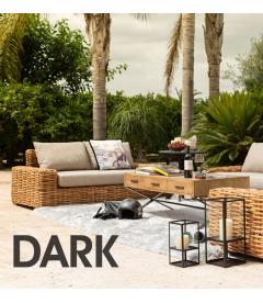 Canapé Suno Dark Rotin - Outdoor 215cm - Tissu couleur Taupe