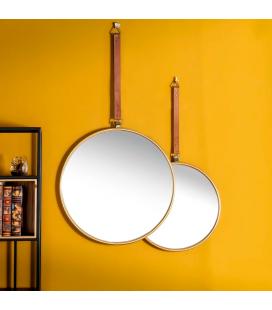 Set de 2 Miroirs Indus Métal Doré