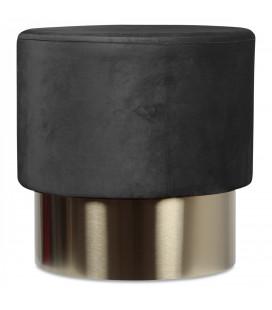 Pouf en Velours D.35cm Noir Serge