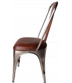 Chaise Padded Leather Factory Shiny and Brown