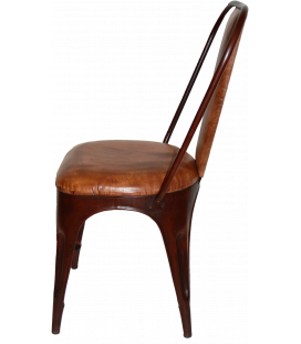 Chaise Padded Leather Factory Rusty and Brown