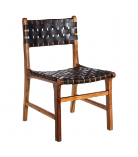 Chaise Piel Trenzado Noir