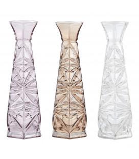 Vase Verre D 7,0cm - H 20,0cm Nude Ou Clair Ou Rose - Pc