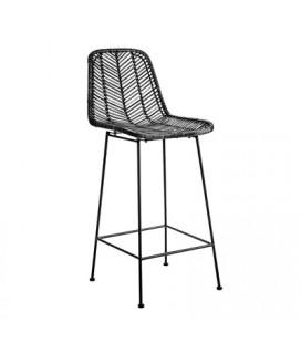 Chaise de Bar Fay Rotin Noir Bloomingville