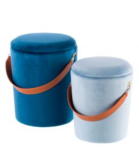 Set de 2 Poufs Coffre Cali Bleu/Bleu