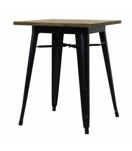 Table Bistrot Tucker Carrée Acier Noir Mat & Bois