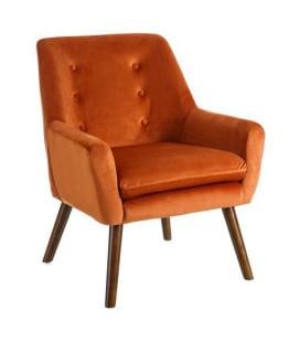 Fauteuil Viborg Orange Pieds Foncés