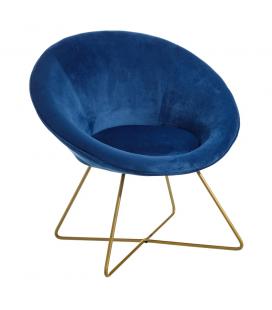 Fauteuil Hobby II en Velours Bleu