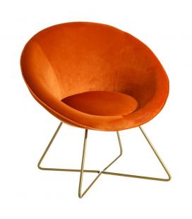Fauteuil Hobby II en Velours Orange