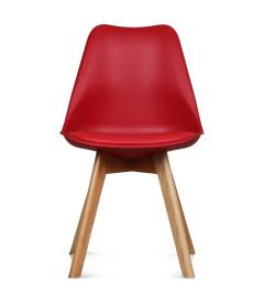 Chaise Copenhague Rouge Pp + Coussin Pu + Pietement Bois (Hetre) Assise 46cm
