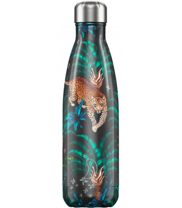 """Bouteille Isotherme 500ml Acier """"Leopard"""" Chilly's"""