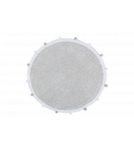 Tapis Rond Bubbly Gris Ø120 cm Lavable en Machine